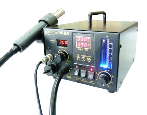 NEW!! Updated Aoyue 968A+ SMD Digital Hot Air Rework Station, 3 in 1 station has Hot Air, a 70 Watt Soldering Iron and a built in smoke absorber - 500 Watt Heater - 5 nozzles - 10 Soldering Iron Tips- Spare Heating Elements -Vacuum Pickup Kit