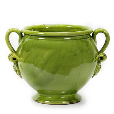SCAVO VERDE: Footed cachepot with two handles [#V02-VER] (Italian Ceramics Cachepot compare prices)