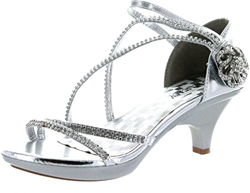 Delicacy Womens Angel-48 Party Dress Sandals Pumps,Silver,9