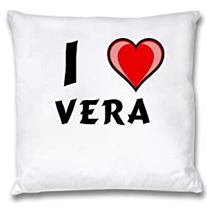 Amazon.com: White Cushion Cover with I Love Vera (first name/surname