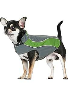 "Kakadu Pet Nylon Shell And Fleece Lined Dog Coat With Reflective Stripe, Extra Extra Small 10"", Grass (Green)"