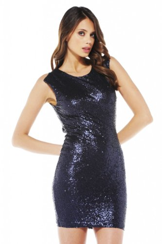 Ax Paris Women'S Cut Out Back Sequin Navy Dress(Blue, Size:6)