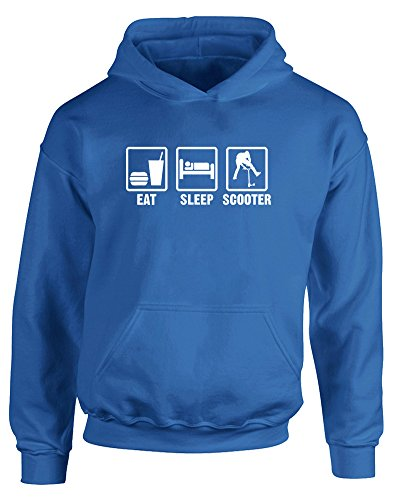 Eat Sleep Scooter, Kids Printed Hoodie - Royal Blue/White 12-13 Years