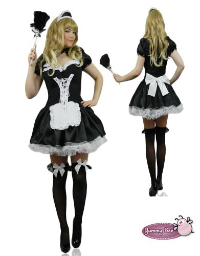 Sexy French Maid Fancy Dress Costume Ladies Outfit ~FREE FEATHER DUSTER~ Size XL 12/14