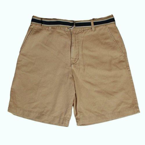 Мужские шорты IZOD Men's Flat Front Belted Short (Khaki, 36)