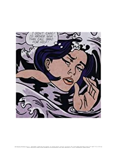 Drowning Girl - Pop Art Poster by Roy Lichtenstein (11 x 14)