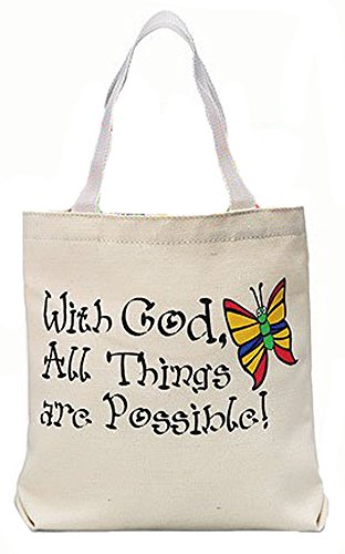 With God All Things Are Possible Butterfly Design 8 Inch Canvas Book Tote Purse Bag