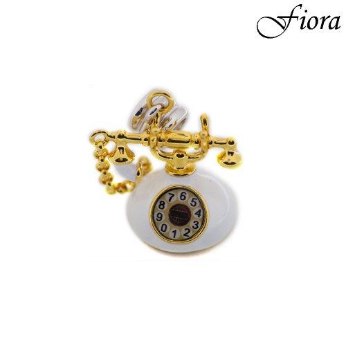 14kgp Rotary Phone Enamel Dangle Charm- Fiora Italian Charms