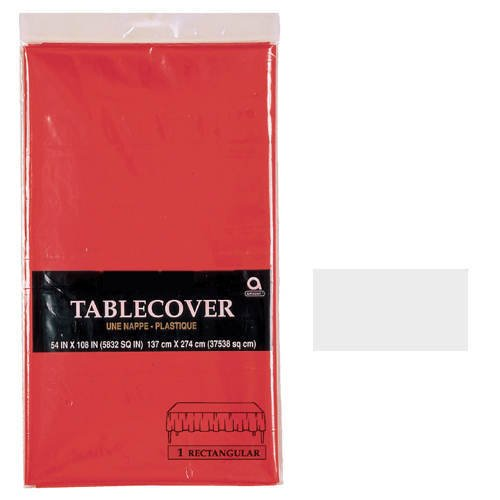 "Disposable 3 Ply Paper Table Cover Fits 8' Tables, 53 x 108"", Frosty White"