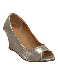 Belson Satin Gold Party Wear Wedges For Women