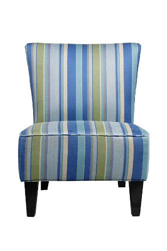 Handy Living 340C PMG95 035 Halsted Armless Transitional Accent Chair,  Mardi Gras Blue Striped Design Review