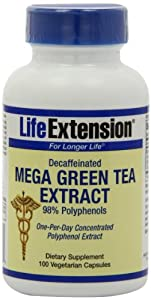 Life Extension Decaffeinated Mega Green Tea Extract 98% Polyphenolds, Vegetarian Capsules, 100-Count