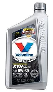 Valvoline VV955 SynPower Full Synthetic Motor Oil SAE 5W-30 - 1 Quart Bottle (Case of 6)