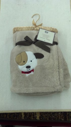 "PUPPY ""CUTE"" SUPER ULTRA SOFT EMBROIDERED BEIGE BABY BLANKET NEW"