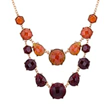 buy Modern Fantasy Color Stone Pendant Neckalce Double Layers Crystal Statement Necklace (Red)