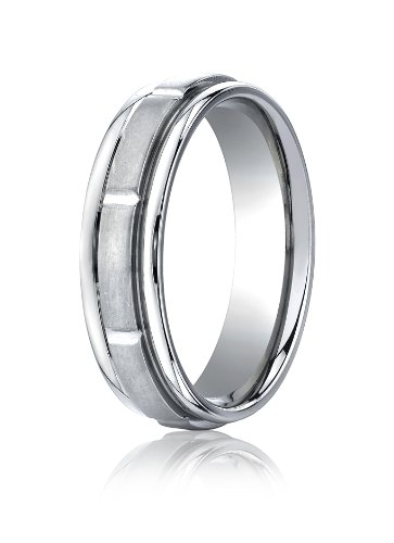 14K White Gold, 6mm Comfort-Fit Satin 8 Polished Cut Round Edge Band (sz 6.5)