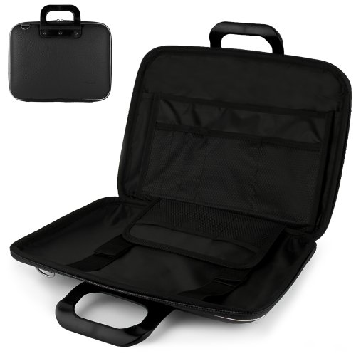 Uniquely designed SumacLife Brand Black Ultra Durable Reinforced 12 Inch Cady Hard Shell Sports Bag for all models of the Sony VAIO T Series 13.3-Inch Touch Ultrabook (Touch, Non-Touch, VAIO T13 Series, SVT13126CXS, SVT13124CXS, SVT13128CXS, Windows 8, Silver)