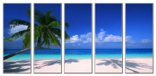 Tropical-beach-print-on-canvas-seascape-canvas-art-prints-beach-wave-canvas-print-framed-and-ready-to-hang-home-and-office-beach-dcor-beach-canvas-designs-5-panel-print-ocean-wall-art