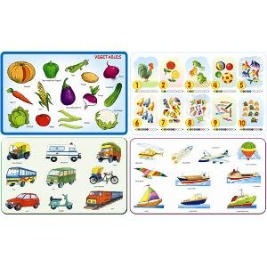 Play and Learn - Vegatebles + Numbers + Land Transport + Water & Air Transport Combo