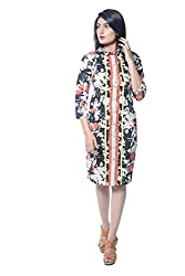 iamme Floral printed front open bodycon shirt dress