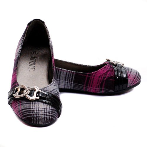 Modit Little Girls 2 Fuchsia Flannel Plaid Patent Strap Dress Shoes