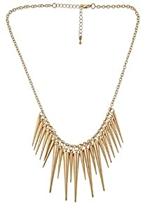 Rock Fashion Collar Bib Gold Tone Spikes Choker Necklace