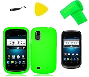 Green Soft Silicone Jelly Skin Phone Case Cover Cell Phone Accessory + Extreme Band + Stylus Pen + LCD Screen Protector + Yellow Pry Tool for Straight Talk ZTE Midnight Z768G