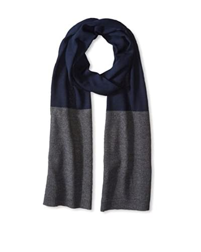 Cullen Men's Textured Color Block Merino Knit Scarf, Navy/Charcoal