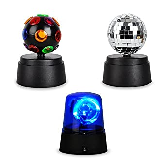 Party Pack Set - Fun Novelty Motorised Multi-Coloured Mini Disco Ball, Blue LED Police Siren ...