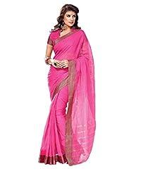 Ethnic Wear Pink Saree Zari Lace Work Bollywood Cotton Sari