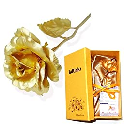 KDLINKS 24K 10-Inch Gold Foil Rose - Best Valentine\'s Day Gifts - Handcrafted & Last Forever!