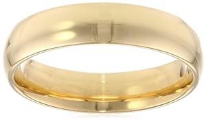 Men's 18k Yellow Gold 5mm Comfort Fit Plain Wedding Band, Size 9