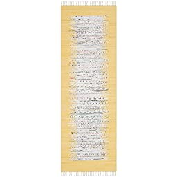 Safavieh Montauk Collection MTK711Q Hand Woven Ivory and Yellow Cotton Runner, 2 feet 3 inches by 7 feet (2\'3\