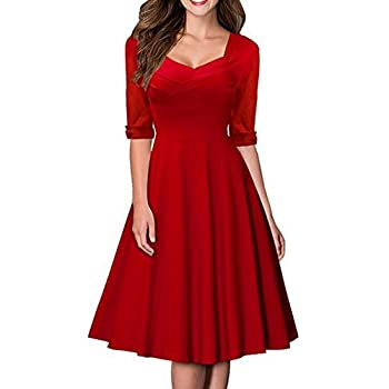 SYLVIEY Women's Hepburn Style Short Sleeve Vintage Bridesmaid Party Dress