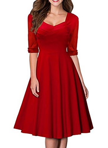SYLVIEY Women's Hepburn Style Half Sleeve Vintage Bridesmaid Party Dress L Red