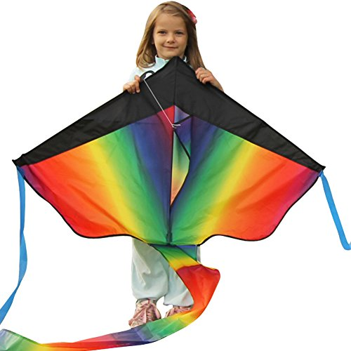 Huge Rainbow Kite For Kids - One Of The Best Selling Toys For Outdoor Games Activities - Good Plan For
