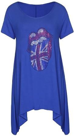 Frauen Rolling Stones Lips Nieten Strass Rundhalsausschnitt Kurzärmeliges Stretch T-Shirt Mit Unebenem Saum Top Plus Größe - 42, königsblau