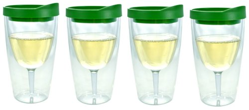 Southern Homewares 4-Pack Wine 2Go! Insulated Vino Double Wall Acrylic Wine Tumbler With Verde Green Drink Through Lid, 16-Ounce