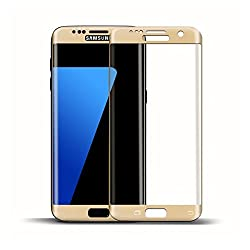 SPL 3D Curved Surface Full Cover Tempered Glass for Samsung Galaxy S7 Edge -Golden