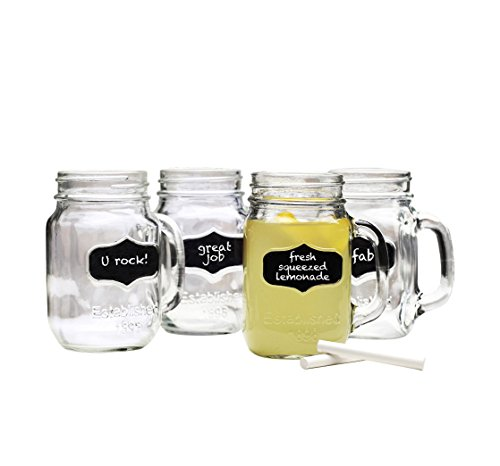Chalkboard Mason Jar Mugs with Chalk. 17.5 Oz. Each. Old Fashion Drinking Glasses - Pack of 4. By Lily's Home® (Mason Jar Mugs Chalkboard compare prices)