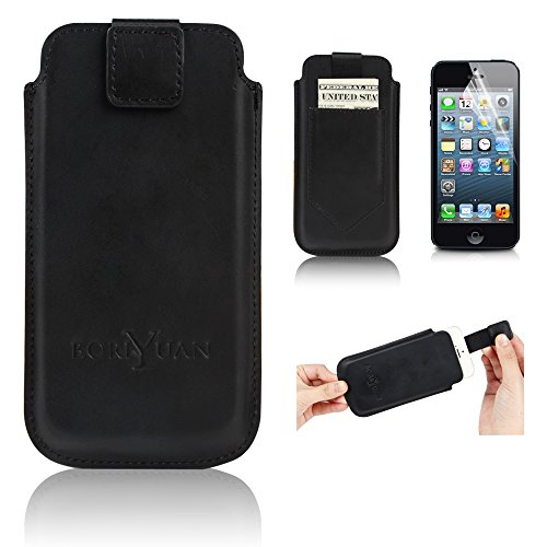 "iPhone 6 Plus Case, Boriyuan® Portable Vintage Stylish Lightweight Ultra Slim Protective Real Genuine Leather Case Cover Carrying Sleeve Pouch for iPhone 6 Plus 5.5 Inch Smartphone with Card Holder Slot and Magnetic Closure, with a Free Screen Protector (5.5"" iPhone 6 Plus Black – Pattern 2)"