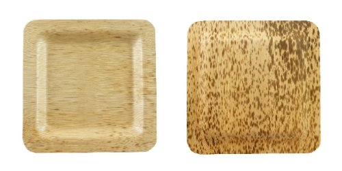 "Packnwood 210Bboua15 Square Biodegradable Bamboo Leaf Plate, 5.9"" X 5.9"" (Pack Of 100)"