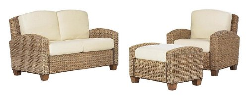 Picture of Home Styles 3pc Woven Sofa Chair, Ottoman and Loveseat Set in Honey Finish (VF_HY-5401-200) (Sofas & Loveseats)