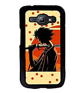Fuson Premium 2D Back Case Cover Man with Sword With Green Background Degined For Samsung Galaxy J1::Samsung Galaxy J1 J100F
