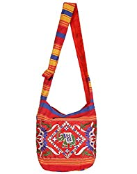 Rajrang Bags For Womens Geometric Printed Canvas Patch Work Red Sling Bag