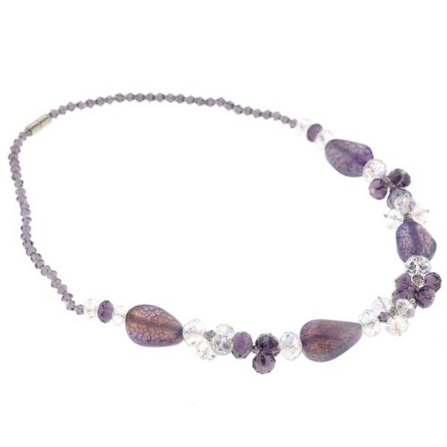 Curved Oval and Faceted Rondell Glass Beads Necklace - Purple and Clear - 18'' Overall Length