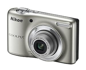 Nikon Coolpix L25 Digitalkamera silber (10 Megapixel, 5-fach opt. Zoom, 7,5 cm (3 Zoll) Display, bildstabilisiert) Kit inkl. 4GB-Speicherkarte und Tasche