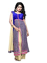 BanoRani Womens Blue & Beige Color Faux Georgette Chicken Embroidery UnStitched Dress Material (Plazzo)