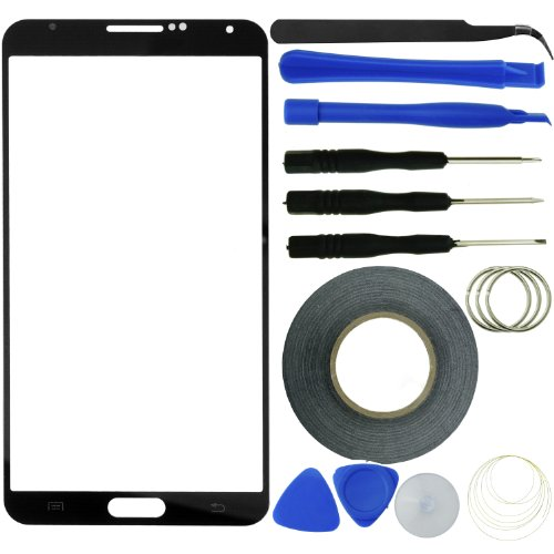 Samsung Galaxy Note 3 Screen Replacement Kit Including 1 Replacement Screen Glass For Samsung Galaxy Note Iii / 1 Pair Of Tweezers / 1 Roll Of Adhesive Tape / 1 Tool Kit / 1 Eco-Fused Microfiber Cleaning Cloth (Black)