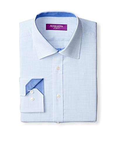 Acquaviva Men's Mini Gingham Barrel Cuff Dress Shirt